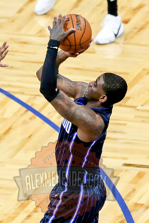 ORLANDO, FL - MARCH 03: Dwayne Bacon #8 of the Orlando Magic attempts a shot against the Atlanta Hawks at Amway Center on March 3, 2021 in Orlando, Florida. NOTE TO USER: User expressly acknowledges and agrees that, by downloading and or using this photograph, User is consenting to the terms and conditions of the Getty Images License Agreement. (Photo by Alex Menendez/Getty Images)*** Local Caption *** Dwayne Bacon
