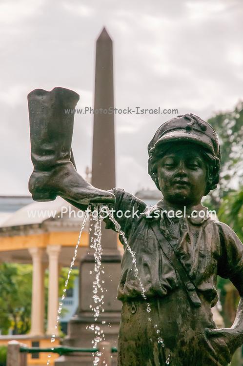 Santa Clara, Cuba. Boy with a boot fountain (El niño de la Bota) in Parque Vidal