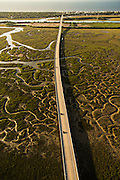 Aerial view of the Isle of Palms causeway over the marsh  in Mount Pleasant, SC.