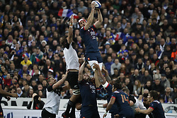 France's Kevin Gourdon battles New-Zealand's Samuel Whitelock during a rugby friendly Test match, France vs New-Zealand in Stade de France, St-Denis, France, on November 11th, 2017. France New-Zealand won 38-18. Photo by Henri Szwarc/ABACAPRESS.COM
