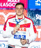 KOSTIN Oleg Russia RUS Gold Medal<br /> 50 butterfly men Final<br /> Glasgow 07/12/2019<br /> XX LEN European Short Course Swimming Championships 2019<br /> Tollcross International Swimming Centre<br /> Photo  Giorgio Scala / Deepbluemedia / Insidefoto