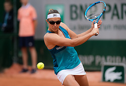 May 28, 2019 - Paris, FRANCE - Kirsten Flipkens of Belgium in action during her first-round match at the 2019 Roland Garros Grand Slam tennis tournament (Credit Image: © AFP7 via ZUMA Wire)