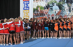 Girls (junior) waiting during final ceremony at second day of European Cheerleading Championship 2008, on July 6, 2008, in Arena Tivoli, Ljubljana, Slovenia. (Photo by Vid Ponikvar / Sportal Images).