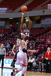 29 January 2017: Kim Nebo takes a jump shot over Katrina Beck during an College Missouri Valley Conference Women's Basketball game between Illinois State University Redbirds the Salukis of Southern Illinois at Redbird Arena in Normal Illinois.