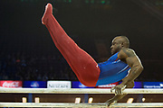 Donnell Whittenburg of the United States of America (USA) on the Parallel bars on his way to a Silver Medal at the iPro Sport World Cup of Gymnastics 2017 at the O2 Arena, London, United Kingdom on 8 April 2017. Photo by Martin Cole.