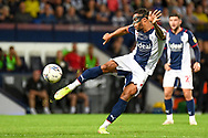 West Bromwich Albion defender Darnell Furlong (2) takes a shot at goal during the EFL Sky Bet Championship match between West Bromwich Albion and Queens Park Rangers at The Hawthorns, West Bromwich, England on 24 September 2021.