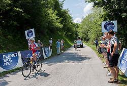 Primoz Roglic (SLO) of Adria Mobil and Stefano Pirazzi (ITA) of Bardiani - CSC Inox during Stage 3 from Skofja Loka to Vrsic (170 km) of cycling race 20th Tour de Slovenie 2013,  on June 15, 2013 in Slovenia. (Photo By Vid Ponikvar / Sportida)