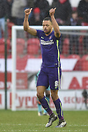 Jordan Cousins of Charlton Athletic  celebrates Igor Vetokele of Charlton Athletic scoring to go 2-1 up  during the Sky Bet Championship match between Rotherham United and Charlton Athletic at the New York Stadium, Rotherham, England on 30 January 2016. Photo by Ian Lyall.