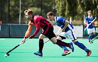ROTTERDAM -  Ties Ceulemans (Kampong) met Mink van der Weerden (Oranje-Rood)   tijdens de wedstrijd om de derde plaats tegen Oranje Rood bij de ABN AMRO cup. COPYRIGHT KOEN SUYK