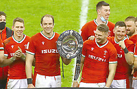 Mandatory Credit: Photo by Kieran McManus/BPI/Colorspor/REX/Shutterstock (11777423bd)<br /> Alun Wyn Jones of Wales lifts the Triple Crown after full time<br /> Wales v England, Guinness Six Nations, Rugby Union, Principality Stadium, Cardiff, UK - 27 Feb 2021