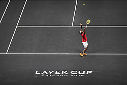 September 21, 2018 - Chicago, Illinois, U.S - FRANCES TIAFOE of the United States serves to GRIGOR DIMITROV of Bulgaria during the first match on Day One of the Laver Cup at the United Center in Chicago, Illinois. (Credit Image: © Shelley Lipton/ZUMA Wire)