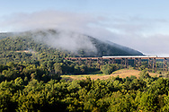 Cornwall, New York - A morning view of the Moodna Viaduct railroad trestle and Schunnemunk Mountain on Aug. 26, 2019.