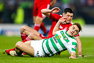 James Forrest (#49) of Celtic reacts as his shot rebounds away from goal during the Betfred Cup Final between Celtic and Aberdeen at Celtic Park, Glasgow, Scotland on 2 December 2018.