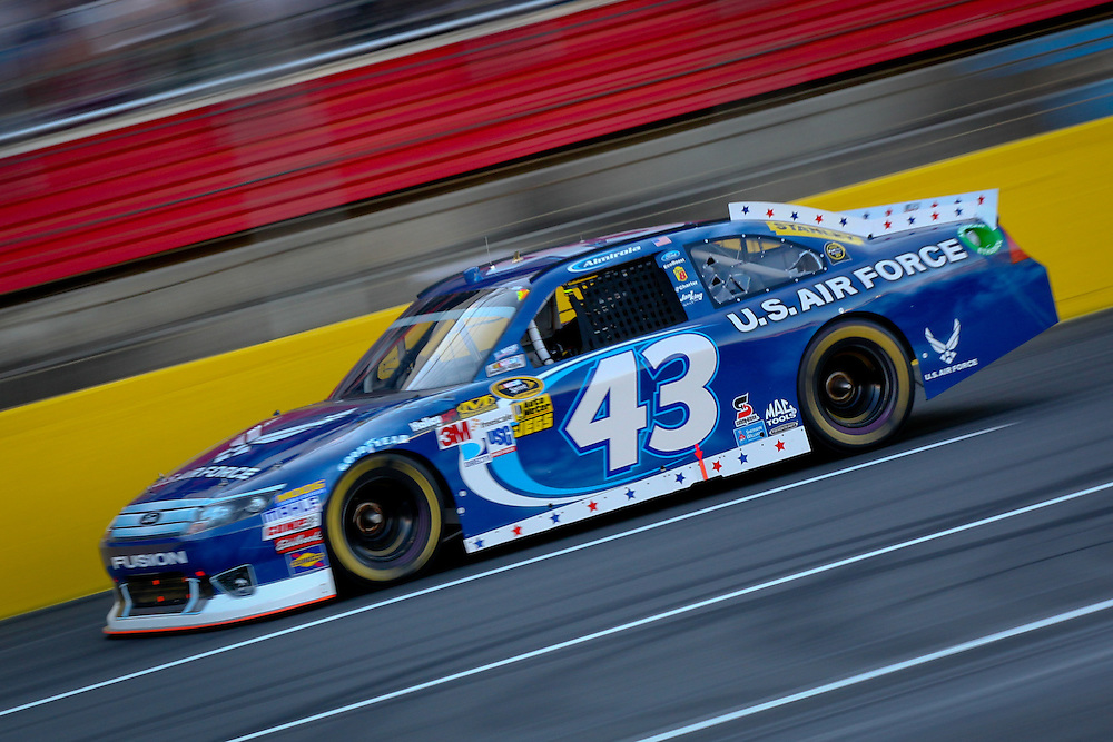 May 24, 2012; Concord, NC USA; NASCAR Sprint Cup Series driver Aric Almirola (43) during the Coca-Cola 600 at Charlotte Motor Speedway. Photo by Kevin Liles/kevindliles.com