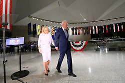Former Vice President Joe Biden departs after delivering remarks after wining the Michigan Primary, at the National Constitution Center, in Philadelphia, PA, on March 10, 2020.