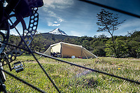 Tent seen through a bicycle wheel, Tierra del Fuego National Park, Uschuaia, Patagonia, Argentina