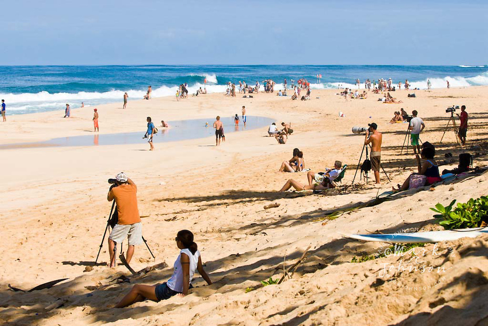 Spectators and Photographers at the beach, Pipeline, North Shore, Oahu, Hawaii