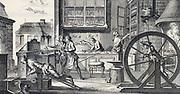 Cutler;s workshop. From Diderot 'Encyclopedie' c1751.