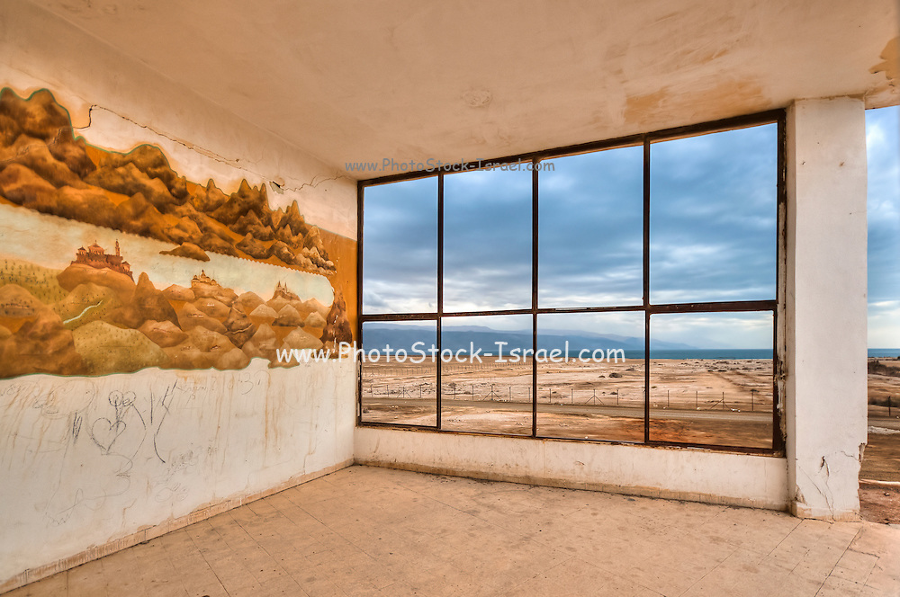 Israel, Dead Sea As seen from within a deserted building of the old Dead Sea Works factory and living quarters, in Sdom, abandoned in 1949.