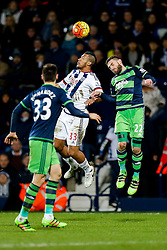 Jose Salomon Rondon of West Bromwich Albion and Angel Rangel of Swansea City compete in the air - Mandatory byline: Rogan Thomson/JMP - 02/02/2016 - FOOTBALL - The Hawthornes - West Bromwich, England - West Bromwich Albion v Swansea City - Barclays Premier League.