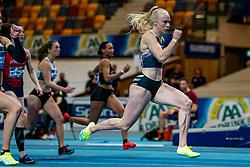Marije van Hunenstijn in action on the 60 meter during AA Drink Dutch Athletics Championship Indoor on 20 February 2021 in Apeldoorn.