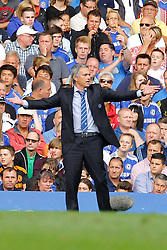Chelsea Manager, Jose Mourinho reacts  - Photo mandatory by-line: Mitchell Gunn/JMP - Tel: Mobile: 07966 386802 18/08/2013 - SPORT - FOOTBALL - Stamford Bridge - London -  Chelsea v Hull City - Barclays Premier League