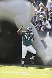 Philadelphia Eagles defensive tackle Cullen Jenkins (97) enters the field before the NFL game between the Detroit Lions and the Philadelphia Eagles on Sunday, October 14th 2012 in Philadelphia. The Lions won 26-23 in Overtime. (Photo by Brian Garfinkel)