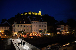Ljubljana Castle in yellow colours after Tadej Pogacar of Slovenia won Tour de France 2020 and Primoz Roglic of Slovenia placed second in overall classification, on September 20, 2020 in Ljubljana, Slovenia. Photo by Vid Ponikvar / Sportida