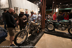 Stephen Bates with his custom Harley-Davidson Panhead on display at the Handbuilt Motorcycle Show. Austin, TX, USA. April 8, 2016.  Photography ©2016 Michael Lichter.