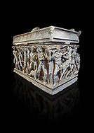 """Roman relief sculpted Hercules sarcophagus with kline couch lid, """"Columned Sarcophagi of Asia Minor"""" style typical of Sidamara, 250-260 AD, Konya Archaeological Museum, Turkey. Against a black background .<br /> <br /> If you prefer to buy from our ALAMY STOCK LIBRARY page at https://www.alamy.com/portfolio/paul-williams-funkystock/greco-roman-sculptures.html . Type -    Konya     - into LOWER SEARCH WITHIN GALLERY box - Refine search by adding a subject, place, background colour, museum etc.<br /> <br /> Visit our ROMAN WORLD PHOTO COLLECTIONS for more photos to download or buy as wall art prints https://funkystock.photoshelter.com/gallery-collection/The-Romans-Art-Artefacts-Antiquities-Historic-Sites-Pictures-Images/C0000r2uLJJo9_s0"""