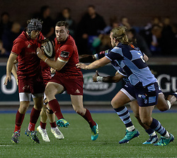 JJ Hanrahan of Munster<br /> <br /> Photographer Simon King/Replay Images<br /> <br /> Guinness PRO14 Round 4 - Cardiff Blues v Munster - Friday 21st September 2018 - Cardiff Arms Park - Cardiff<br /> <br /> World Copyright © Replay Images . All rights reserved. info@replayimages.co.uk - http://replayimages.co.uk