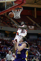 09 January 2007: Osiris Eldridge goes high for a lay up. The Illinois State Redbirds, winless in the Missouri Valley Conference, knocked off the undefeated  Panthers of Northern Iowa 67-64 in overtime at Redbird Arena in Normal Illinois on the campus of Illinois State University.