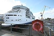 Royal Caribbean International's latest ship, Independence of the Seas, floats onto water for the first time in Turku, Finland. Independence of the Seas arrives in Southampton in May 2007 and will be based there for the summer season. ....Picture shows ship in dry dock before being flooded...