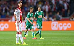 04-08-2015 NED: UEFA CL qualifying AFC Ajax - Rapid Wien, Amsterdam<br /> Ajax is al in de derde voorronde van de Champions League uitgeschakeld. Rapid Wien bleek een niet te nemen horde. Na de 2-2 in Wenen waren de Oostenrijkers in de Arena met 3-2 te sterk / Arkadiusz Milik #9