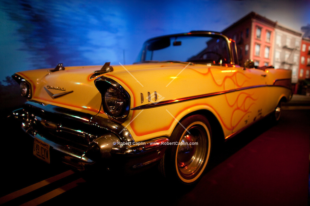 Bruce Springsteen's 1957 Bel Air Chevrolet Convertible on display at The Rock and Roll Hall of Fame Annex in New York City..(Photo by Robert Caplin)..