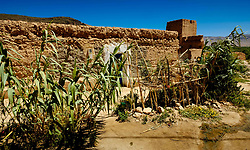 Occupied house at a Glaoui Kasbah left to ruin in Taliwine territory Morocco<br /> <br /> (c) Andrew Wilson   Edinburgh Elite media