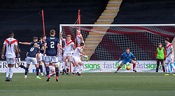 Raith Rovers Kevin Nisbet (15) scoring their third goal. Airdrie 3 v 4 Raith Rovers, Scottish Football League Division One played 25/8/2018 at the Excelsior Stadium.