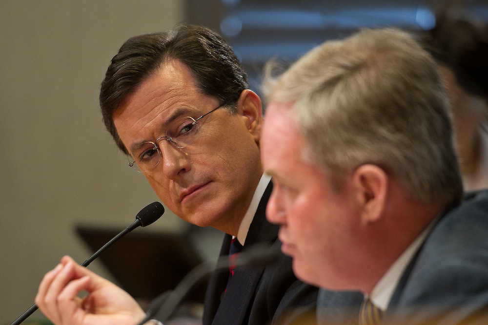 Comedian Stephen Colbert appears at Federal Election Commission headquarters on Thursday, June 30, 2011 in Washington.  (Photo by Jay Westcott/Politico)