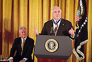German Chancellor Helmut Kohl speaks after President Bill Clinton presented him with the Medal of Freedom at the White House April 20, 1999. Kohl received the medal for his many years of good relations with the U.S and is the first foreigner to receive the honor since 1991.