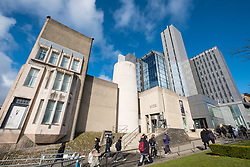 View of The Hunterian Museum ( Mackintosh House on the left)  and University Library at Glasgow University in Scotland, United Kingdom
