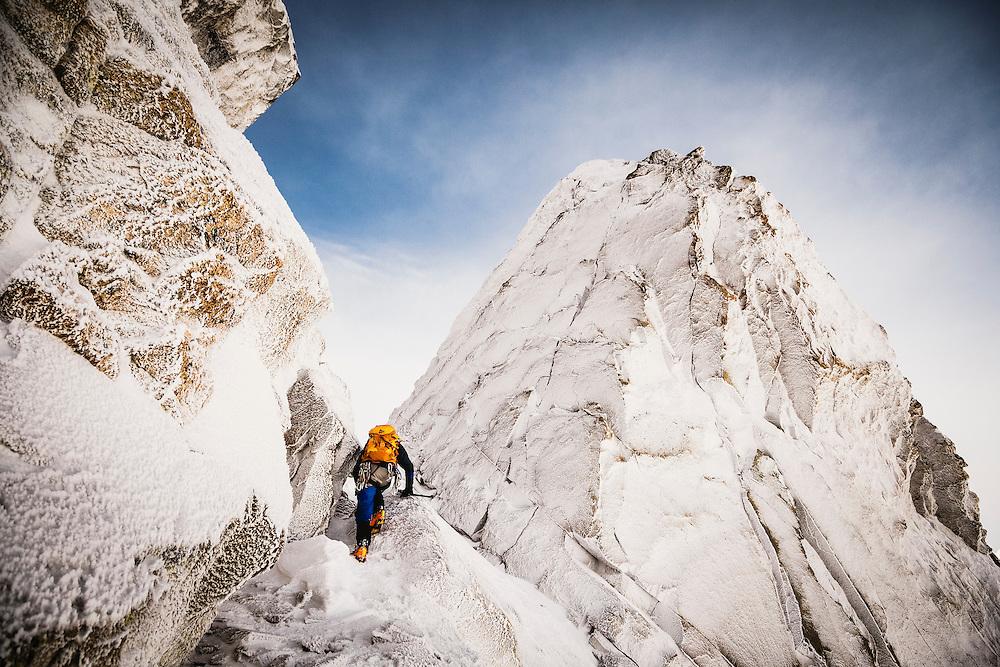 Charlie Thomas makes a winter ascent of Nez Perce, Grand Teton National Park.