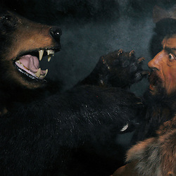 The Natural Bridge Wax Museum features scenes of Virginia and Natural Bridge history with narrated sets at the push of a button.  Here, a mountain man is startled by a bear.