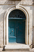 Typical French doorway in Bourdeilles popular tourist destination near Brantome in Northern Dordogne, France