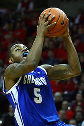 13 January 2012: Josh Jones heads for the hoop  during an NCAA Missouri Valley Conference mens basketball game where the Creighton Bluejays topped the Illinois State Redbirds 87-78 in Redbird Arena, Normal IL