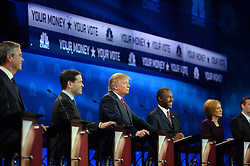 Oct 28, 2015 - Boulder, Colorado, U.S. - JEB BUSH, Senator MARCO RUBIO, left, DONALD J. TRUMP and BEN CARSON, CARLY FIORINA at the debate. (Credit Image: © RJ Sangostin/Denver Post/Pool via ZUMA Wire)