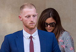 © Licensed to London News Pictures. 06/08/2018. Bristol, UK.  England international cricketer BEN STOKES leaving Bristol Crown court today with his wife CLARE RATCLIFFE after the start of his trial on charges of affray that relate to a fight outside a Bristol nightclub on September 25 2017. England cricketer Ben Stokes and two other men, Ryan Ali, 28, and Ryan Hale, 27, all deny the charge. Stokes, Ali and Hale are jointly charged with affray in the Clifton Triangle area of Bristol on September 25 last year, several hours after England had played a one-day international against the West Indies in the city. A 27-year-old man allegedly suffered a fractured eye socket in the incident. Photo credit: Simon Chapman/LNP
