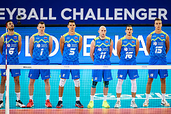 Mitja Gasparini of Slovenia, Toncek Stern of Slovenia, Alen Sket of Slovenia, Ziga Stern of Slovenia, Gregor Ropret of Slovenia and Matic Videcnik of Slovenia during volleyball match between Slovenia and Chile in Group A of FIVB Volleyball Challenger Cup Men, on July 3, 2019 in Arena Stozice, Ljubljana, Slovenia. Photo by Matic Klansek Velej / Sportida