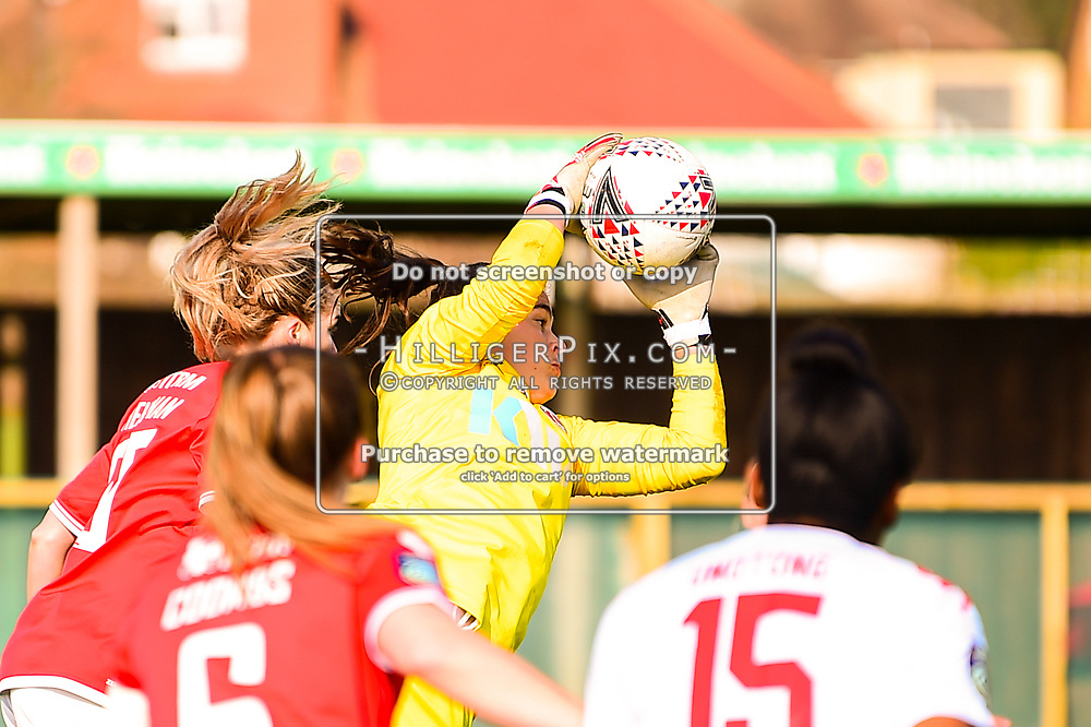 Crayford   England    07 March 2021   The Oakwood<br /> <br /> Charlton goalkeeper Eartha Cumings catches a cross<br /> <br /> Charlton v Lewes<br /> <br /> The FA Women's Championship<br /> <br /> (Photo: © Jon Hilliger / HilligerPix)