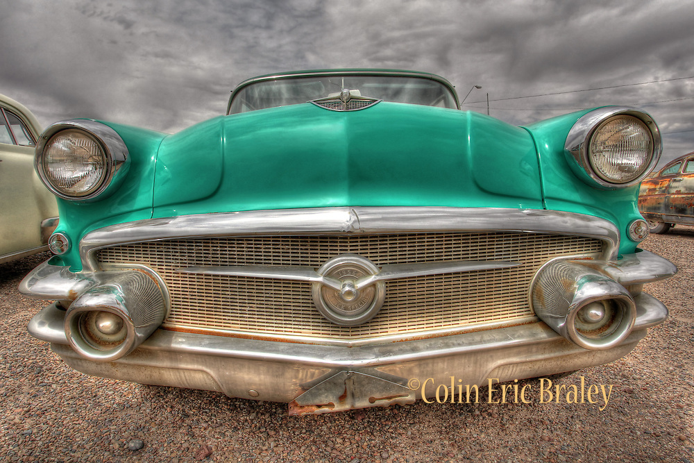 Route 66-A 1956 Buick Special sits with other vintage automobiles in a parking lot at the Wigwam Hotel along Route 66 in Holbrook Arizona, Aug. 13, 2011. Colin E Braley/wildwest-media.com