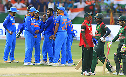 September 21, 2018 - Dubai, United Arab Emirates - Indian cricketer  Ravindra Jadeja celebrates with team mates after taking a wicket during the 1st cricket match of the Super four group  of Asia Cup 2018 between India and Bangaldesh at Dubai International cricket stadium,Dubai, United Arab Emirates on 21 September 2018. (Credit Image: © Tharaka Basnayaka/NurPhoto/ZUMA Press)